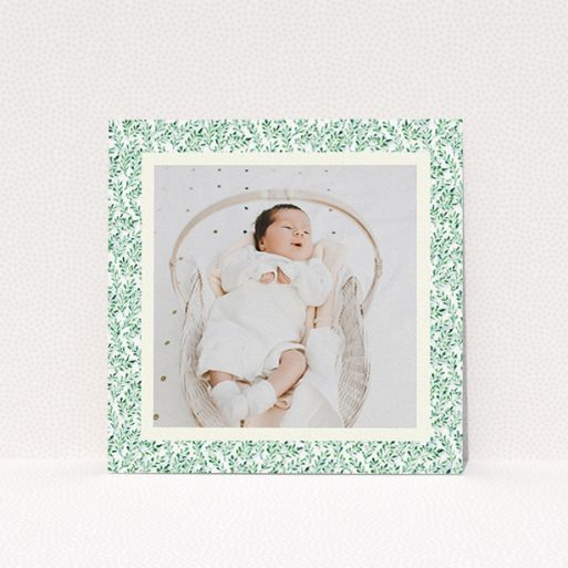 """A christening invitation template titled """"Hedgerow Frame"""". It is a square (148mm x 148mm) invite in a square orientation. It is a photographic christening invitation with room for 1 photo. """"Hedgerow Frame"""" is available as a flat invite, with tones of green and white."""