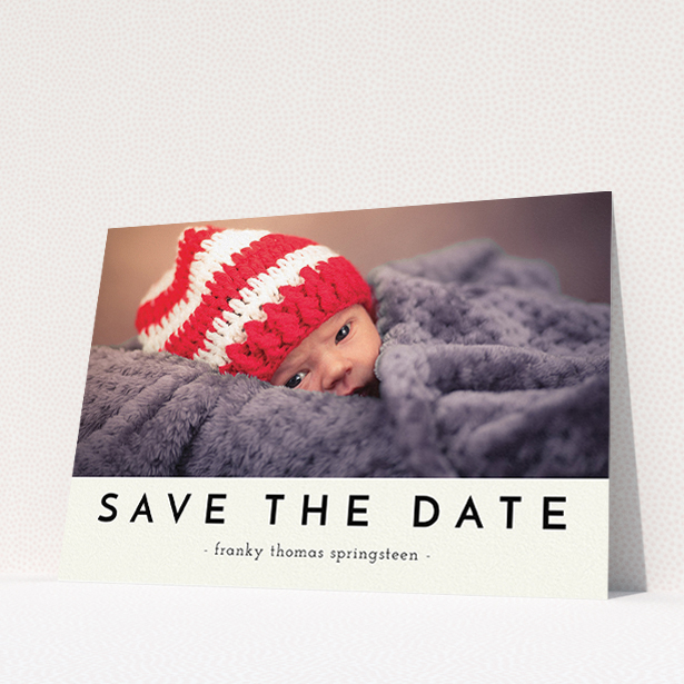 """A christening invitation design named """"Let us introduce"""". It is an A5 invite in a landscape orientation. It is a photographic christening invitation with room for 1 photo. """"Let us introduce"""" is available as a flat invite, with mainly cream colouring."""