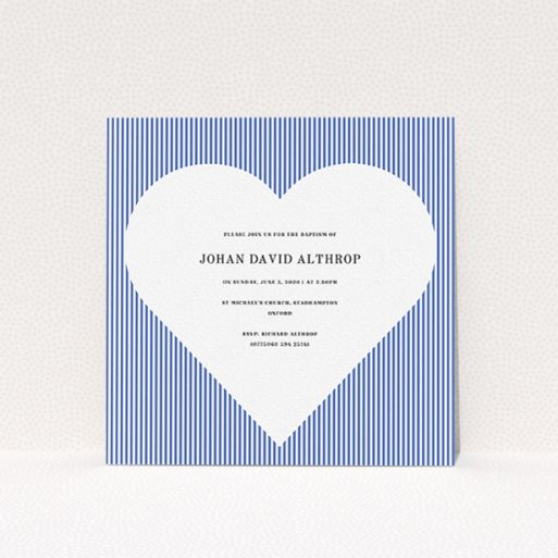 """A christening invitation template titled """"Line Heart"""". It is a square (148mm x 148mm) invite in a square orientation. """"Line Heart"""" is available as a flat invite, with tones of blue and white."""