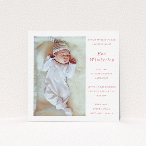 """A christening invitation template titled """"Message of Love"""". It is a square (148mm x 148mm) invite in a square orientation. It is a photographic christening invitation with room for 1 photo. """"Message of Love"""" is available as a flat invite, with tones of white and red."""