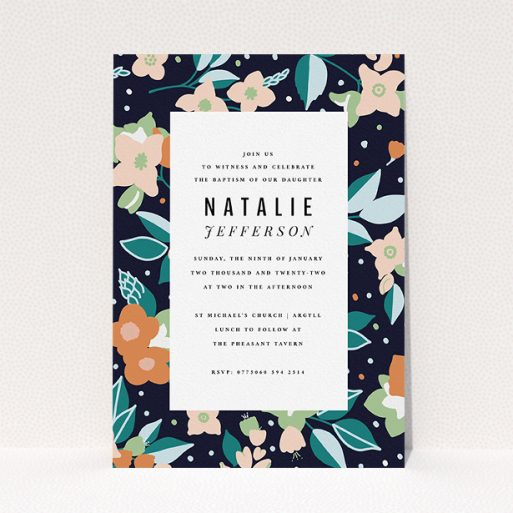 """A christening invitation design titled """"Midnight Garden"""". It is an A5 invite in a portrait orientation. """"Midnight Garden"""" is available as a flat invite, with tones of navy blue, pink and orange."""