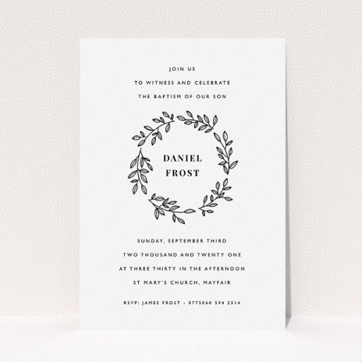 """A christening invitation called """"Monochrome Wreath"""". It is an A5 invite in a portrait orientation. """"Monochrome Wreath"""" is available as a flat invite, with tones of black and white."""