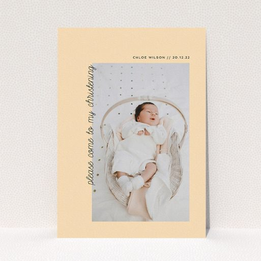 """A christening invitation called """"Old Orange"""". It is an A5 invite in a portrait orientation. It is a photographic christening invitation with room for 1 photo. """"Old Orange"""" is available as a flat invite, with mainly pale orange colouring."""