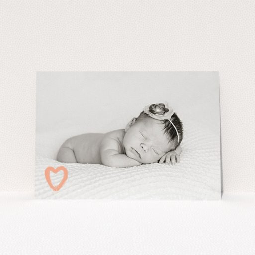 """A christening invitation design titled """"Pink heart motif"""". It is an A5 invite in a landscape orientation. It is a photographic christening invitation with room for 1 photo. """"Pink heart motif"""" is available as a flat invite, with mainly light pink colouring."""