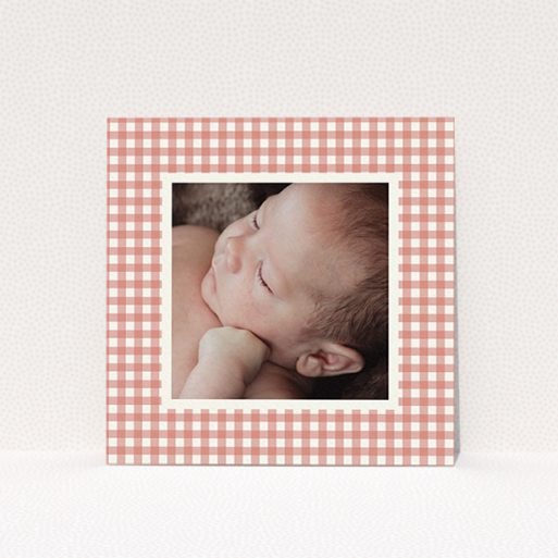 """A christening invitation named """"Pink Plaid"""". It is a square (148mm x 148mm) invite in a square orientation. It is a photographic christening invitation with room for 1 photo. """"Pink Plaid"""" is available as a flat invite, with tones of pink and white."""