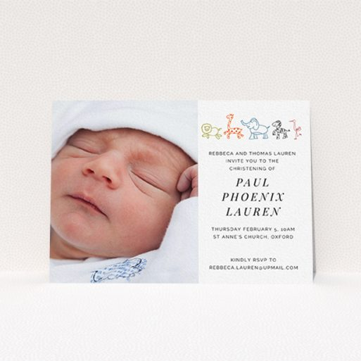 """A christening invitation template titled """"Playground Safari"""". It is an A6 invite in a landscape orientation. It is a photographic christening invitation with room for 1 photo. """"Playground Safari"""" is available as a flat invite, with tones of white and orange."""