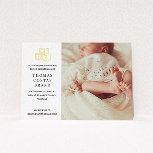 """A christening invitation named """"Playtime"""". It is an A6 invite in a landscape orientation. It is a photographic christening invitation with room for 1 photo. """"Playtime"""" is available as a flat invite, with tones of white and yellow."""