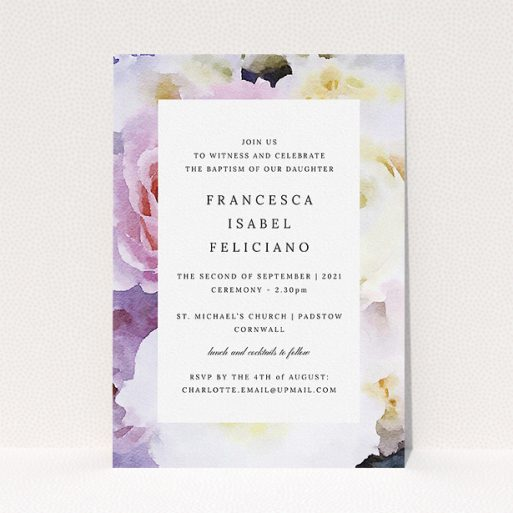 """A christening invitation template titled """"Purple Rose"""". It is an A5 invite in a portrait orientation. """"Purple Rose"""" is available as a flat invite, with tones of light purple and pink."""