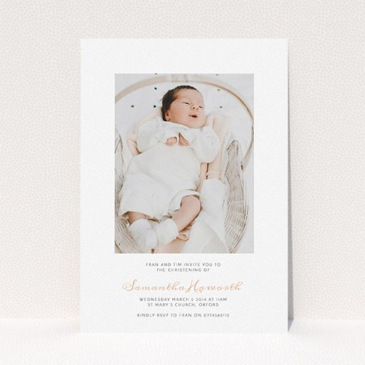 """A christening invitation called """"Right in the middle"""". It is an A5 invite in a portrait orientation. It is a photographic christening invitation with room for 1 photo. """"Right in the middle"""" is available as a flat invite, with tones of white and pink."""