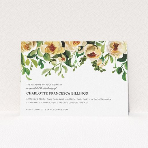 """A christening invitation called """"Rose Impression"""". It is an A5 invite in a landscape orientation. """"Rose Impression"""" is available as a flat invite, with mainly pink colouring."""