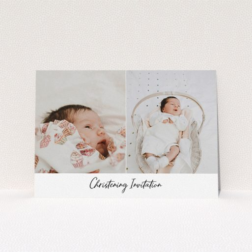 """A christening invitation design called """"Side By Side Photo"""". It is an A5 invite in a landscape orientation. It is a photographic christening invitation with room for 2 photos. """"Side By Side Photo"""" is available as a flat invite, with mainly white colouring."""