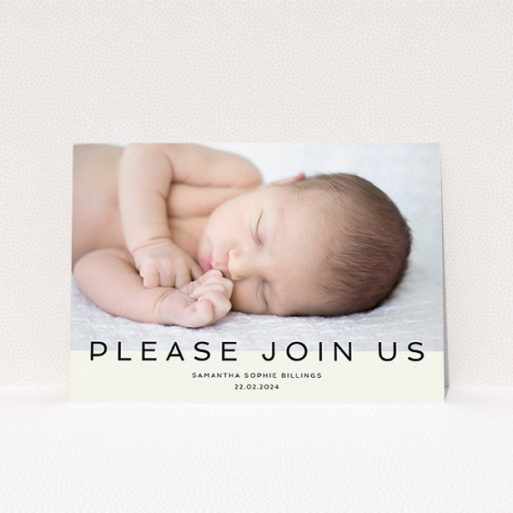 """A christening invitation design called """"Simple Invite Announcement"""". It is an A5 invite in a landscape orientation. It is a photographic christening invitation with room for 1 photo. """"Simple Invite Announcement"""" is available as a flat invite, with mainly cream colouring."""