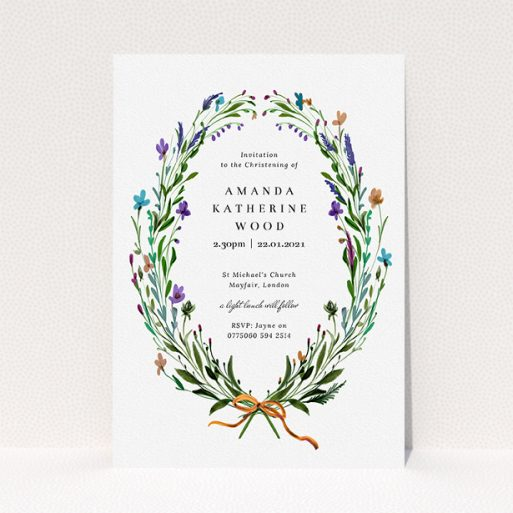 """A christening invitation design titled """"Spring Wreath"""". It is an A5 invite in a portrait orientation. """"Spring Wreath"""" is available as a flat invite, with tones of green and purple."""