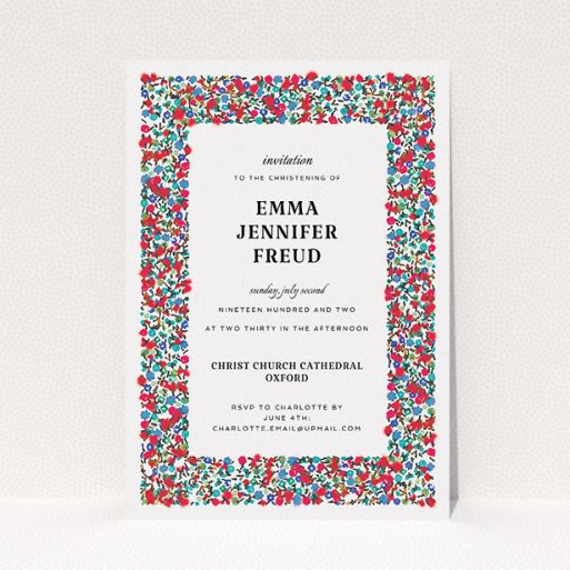 """A christening invitation template titled """"Summer from a distance"""". It is an A5 invite in a portrait orientation. """"Summer from a distance"""" is available as a flat invite, with tones of white and red."""