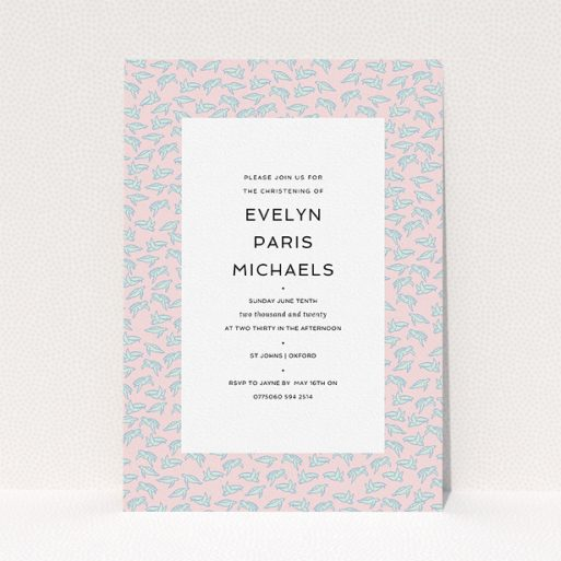 """A christening invitation design named """"Tiny, tiny Turtles"""". It is an A5 invite in a portrait orientation. """"Tiny, tiny Turtles"""" is available as a flat invite, with tones of blue and pink."""