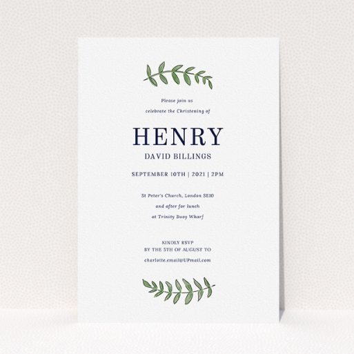 """A christening invitation named """"Top and Bottom"""". It is an A5 invite in a portrait orientation. """"Top and Bottom"""" is available as a flat invite, with tones of white and green."""
