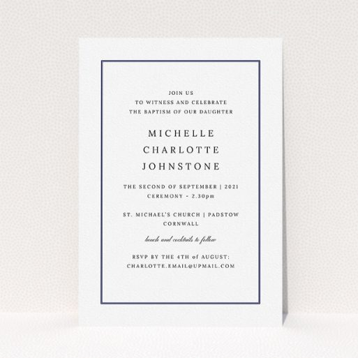 """A christening invitation template titled """"Tradition"""". It is an A5 invite in a portrait orientation. """"Tradition"""" is available as a flat invite, with tones of white and blue."""