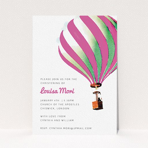 """A christening invitation called """"Up-and-away pink"""". It is an A6 invite in a portrait orientation. """"Up-and-away pink"""" is available as a flat invite, with tones of pink and white."""