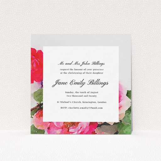 """A christening invitation template titled """"Watercolour Bloom"""". It is a square (148mm x 148mm) invite in a square orientation. """"Watercolour Bloom"""" is available as a flat invite, with tones of pink, red and green."""