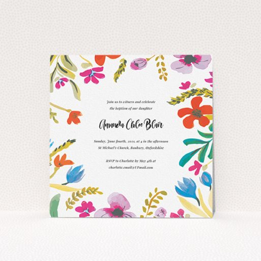 """A christening invite named """"Abstract Summer"""". It is a square (148mm x 148mm) invite in a square orientation. """"Abstract Summer"""" is available as a flat invite, with tones of white and red."""