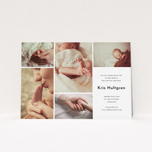 """A christening invite named """"All the snaps"""". It is an A5 invite in a landscape orientation. It is a photographic christening invite with room for 3 photos. """"All the snaps"""" is available as a flat invite, with tones of black and white."""