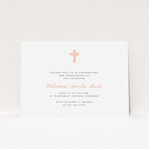 """A christening invite template titled """"Baby Pink Cross"""". It is an A5 invite in a landscape orientation. """"Baby Pink Cross"""" is available as a flat invite, with tones of white and pink."""