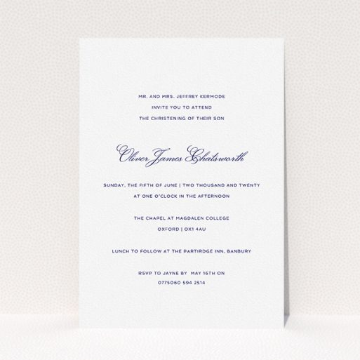 """A christening invite named """"Berkeley Square"""". It is an A5 invite in a portrait orientation. """"Berkeley Square"""" is available as a flat invite, with tones of white and blue."""