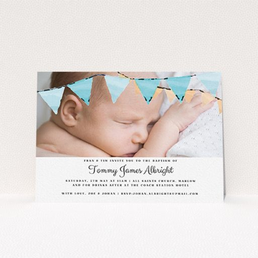 """A christening invite design named """"Blue Bunting"""". It is an A6 invite in a landscape orientation. It is a photographic christening invite with room for 1 photo. """"Blue Bunting"""" is available as a flat invite, with tones of blue and white."""