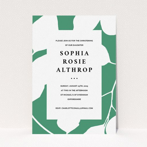 """A christening invite template titled """"Bold Green"""". It is an A5 invite in a portrait orientation. """"Bold Green"""" is available as a flat invite, with tones of green and white."""