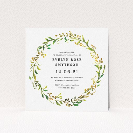 """A christening invite named """"Catalan Wreath"""". It is a square (148mm x 148mm) invite in a square orientation. """"Catalan Wreath"""" is available as a flat invite, with tones of green, orange and yellow."""