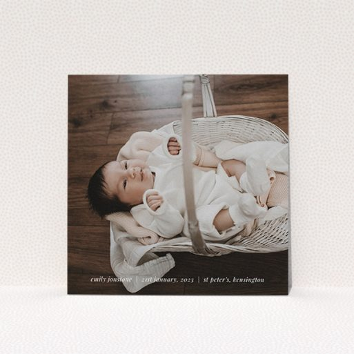 """A christening invite design titled """"Classic Christening Photo"""". It is a square (148mm x 148mm) invite in a square orientation. It is a photographic christening invite with room for 1 photo. """"Classic Christening Photo"""" is available as a flat invite, with mainly white colouring."""