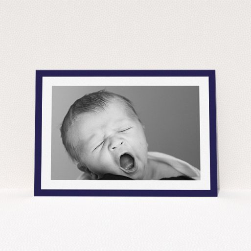 """A christening invite called """"Classic Navy Photo Frame"""". It is an A5 invite in a landscape orientation. It is a photographic christening invite with room for 1 photo. """"Classic Navy Photo Frame"""" is available as a flat invite, with tones of blue and white."""