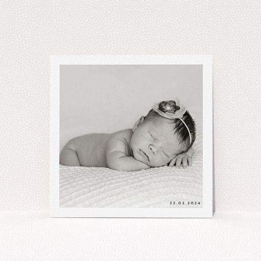 """A christening invite design called """"Classic Photo & Date Arrangement"""". It is a square (148mm x 148mm) invite in a square orientation. It is a photographic christening invite with room for 1 photo. """"Classic Photo & Date Arrangement"""" is available as a flat invite, with mainly white colouring."""