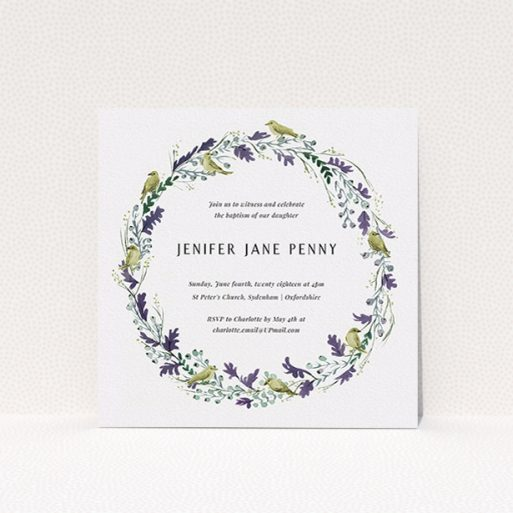 """A christening invite design named """"Classic Wildflower Wreath"""". It is a square (148mm x 148mm) invite in a square orientation. """"Classic Wildflower Wreath"""" is available as a flat invite, with tones of off-white and dark green."""