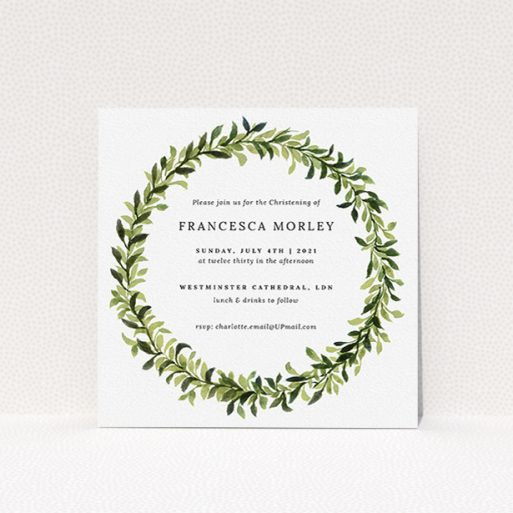 """A christening invite named """"Classic Wreath"""". It is a square (148mm x 148mm) invite in a square orientation. """"Classic Wreath"""" is available as a flat invite, with tones of light green and dark green."""