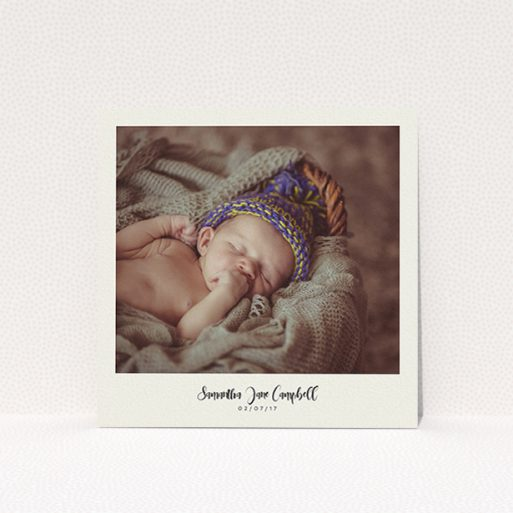 """A christening invite called """"Cream Photo Frame"""". It is a square (148mm x 148mm) invite in a square orientation. It is a photographic christening invite with room for 1 photo. """"Cream Photo Frame"""" is available as a flat invite, with mainly cream colouring."""