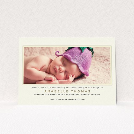 """A christening invite called """"Cream with Cream"""". It is an A5 invite in a landscape orientation. It is a photographic christening invite with room for 1 photo. """"Cream with Cream"""" is available as a flat invite, with mainly cream colouring."""