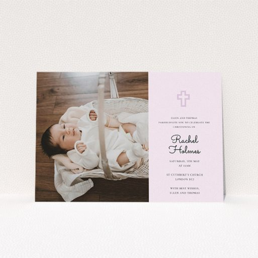 """A christening invite design named """"Cross Photo"""". It is an A5 invite in a landscape orientation. It is a photographic christening invite with room for 1 photo. """"Cross Photo"""" is available as a flat invite, with mainly purple/dark pink colouring."""