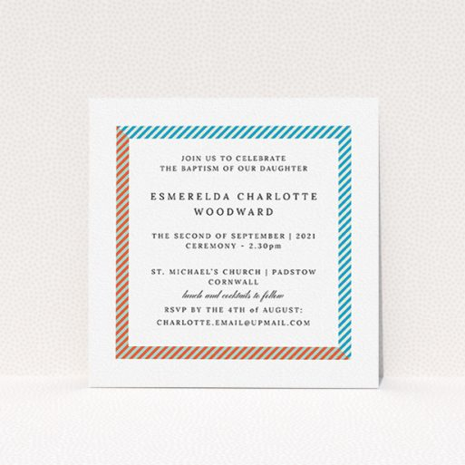 """A christening invite design named """"Diagonal Border"""". It is a square (148mm x 148mm) invite in a square orientation. """"Diagonal Border"""" is available as a flat invite, with tones of red, blue and green."""