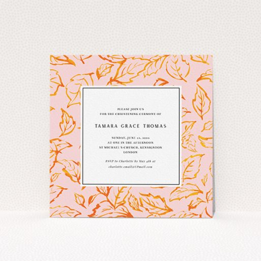 """A christening invite template titled """"Falling Foliage"""". It is a square (148mm x 148mm) invite in a square orientation. """"Falling Foliage"""" is available as a flat invite, with tones of pink and orange."""