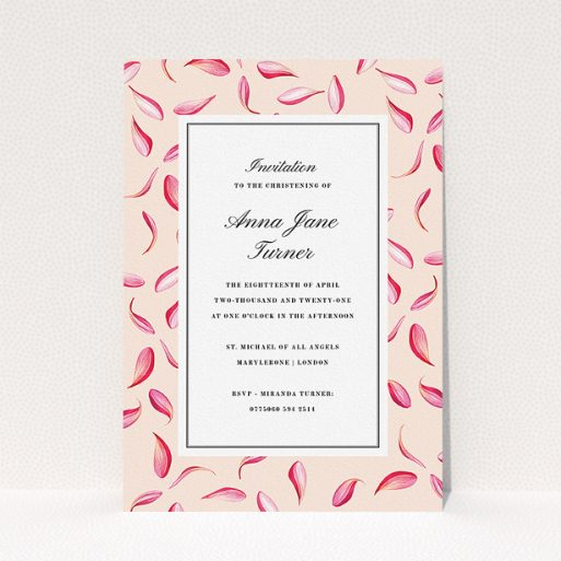 """A christening invite design called """"Falling pink petals"""". It is an A5 invite in a portrait orientation. """"Falling pink petals"""" is available as a flat invite."""