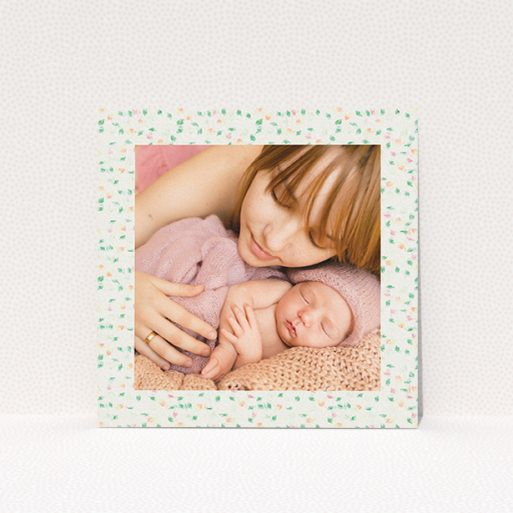 """A christening invite called """"Floral abstract"""". It is a square (148mm x 148mm) invite in a square orientation. It is a photographic christening invite with room for 1 photo. """"Floral abstract"""" is available as a flat invite, with mainly cream colouring."""