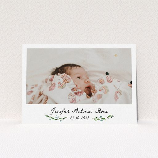 """A christening invite design named """"Floral Fix"""". It is an A5 invite in a landscape orientation. It is a photographic christening invite with room for 1 photo. """"Floral Fix"""" is available as a flat invite, with tones of black and white."""