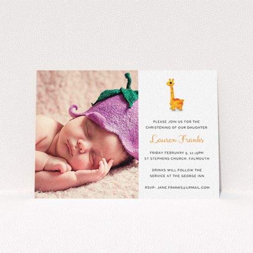 """A christening invite template titled """"Fluffy Giraffe"""". It is an A6 invite in a landscape orientation. It is a photographic christening invite with room for 1 photo. """"Fluffy Giraffe"""" is available as a flat invite, with tones of white and orange."""