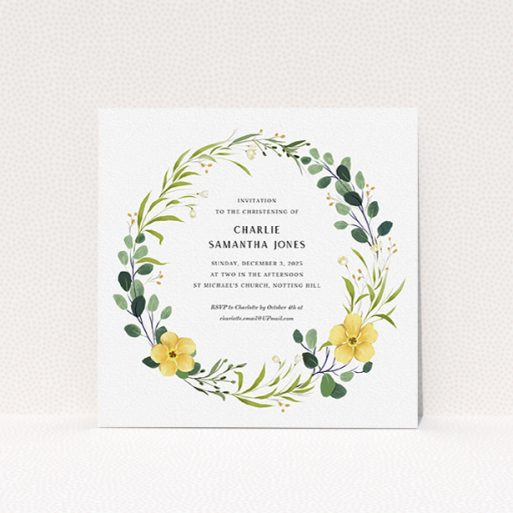 """A christening invite design named """"Full-bloom wreath"""". It is a square (148mm x 148mm) invite in a square orientation. """"Full-bloom wreath"""" is available as a flat invite, with tones of light green, dark green and yellow."""