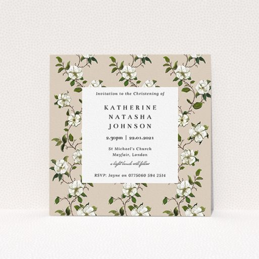 """A christening invite called """"Garden Wall"""". It is a square (148mm x 148mm) invite in a square orientation. """"Garden Wall"""" is available as a flat invite, with tones of cream, green and white."""