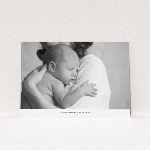 """A christening invite design called """"Landscape Photo"""". It is an A5 invite in a landscape orientation. It is a photographic christening invite with room for 1 photo. """"Landscape Photo"""" is available as a flat invite, with mainly white colouring."""
