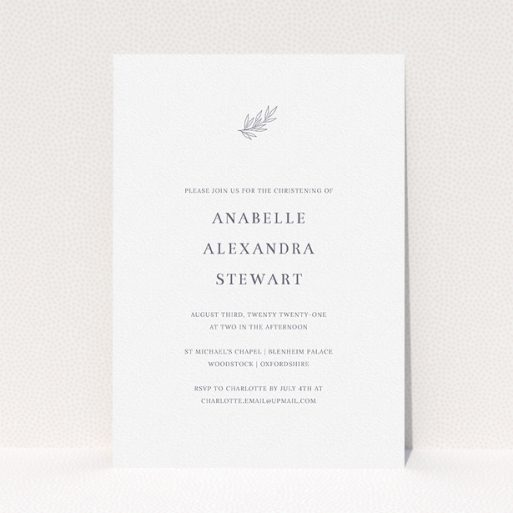 """A christening invite design called """"Leaf Simplicity"""". It is an A5 invite in a portrait orientation. """"Leaf Simplicity"""" is available as a flat invite, with tones of white and grey."""