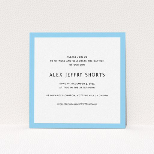 """A christening invite design called """"Modern Thick Border"""". It is a square (148mm x 148mm) invite in a square orientation. """"Modern Thick Border"""" is available as a flat invite, with tones of blue and white."""