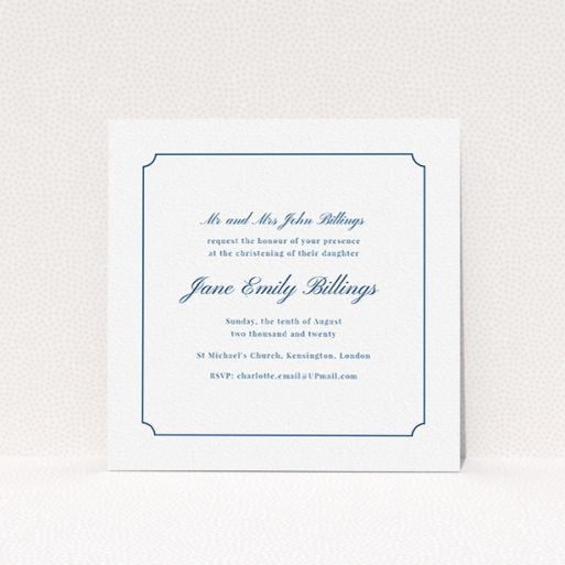 """A christening invite design called """"Notch Border"""". It is a square (148mm x 148mm) invite in a square orientation. """"Notch Border"""" is available as a flat invite, with tones of white and blue."""